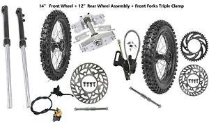 "12"" & 14"" Wheel Kit 60/100-14 80/100-12 Tire Rim Front Fork Dirt Pit Bike SSR"