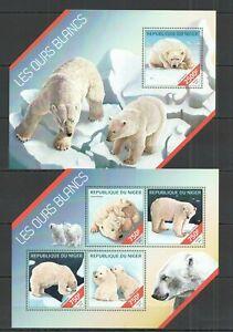 ST2667 2014 NIGER FAUNA WILD ANIMALS POLAR BEARS OURS BLANCS 1KB+1BL MNH