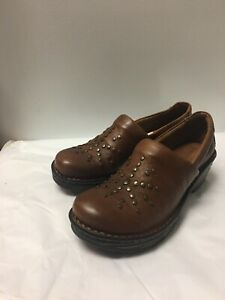 NEW Born Surina Womens Mocha Brown Full-Grain Leather Comfort Clogs Shoes sz 7.5