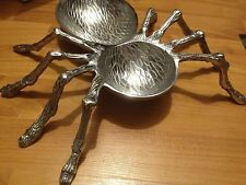 HALLOWEEN LArge SILVER METAL SPIDER BOWLS TRAY DISH HAunted decor