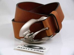 OAKLEY VINTAGE MENS PLATE BROWN LEATHER BELT  XL  MADE IN UK NEW RARE  LAST 1