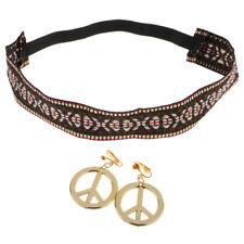 Hippie Headband Gold Peace Symbol Earrings Kit 60s 70s Costume Accessories