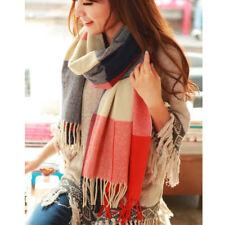 Women Scarf Plaid Warm Cashmere Solid Wool Shawl Wrap Blanket Cozy Female Winter