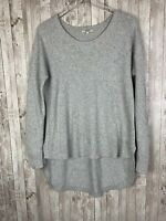 "Women's Madewell Light Gray 'Chronicle"" Texture Pullover High-Low Sweater Size L"