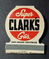 Super Clark's Gas Station Vintage match book Original