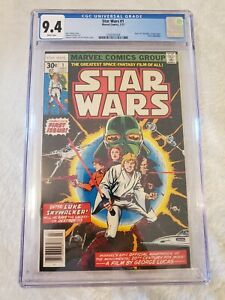 STAR WARS #1 CGC 9.4 WHITE PAGES STAR WARS A NEW HOPE 7/77