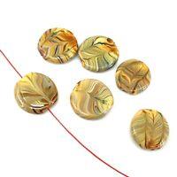 Handmade LampWork Glass Pendant Taffy Tiger Swirl Lentil Beads 20mm 6pcs(A26)