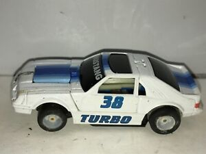 Vintage 1980's Tyco Turbo Transformers Ford Mustang White #38 Slot Car & Body