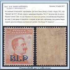 1921 Italia Regno B.L.P. cent. 20 arancio n. 2 Centrato Certific. Nuovo Integro
