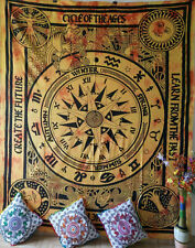 Cycle Of The Age Yellow Queen Tapestry Cotton Textile Bedcover Wall Hanging Art