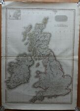 LARGE BRITISH ISLES ORIGINAL ANTIQUE MAP, 1812, CADELL & DAVIES