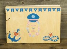UV Printed Personalized Wooden Wedding Guest Book, Rustic, Nautical Wedding