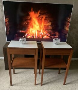 Pair Of Mid Century Remploy Bedside Tables. Solid Teak with Formica Tops, 1970s
