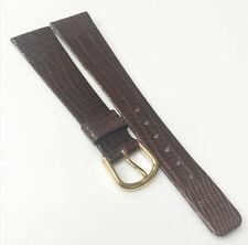 Genuine Lizard W Germany Leather Dark Brown 19mm Gold Tone Buckle Watch Band