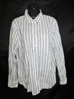 J. Crew XL Black White Stripe Printed Button Down Shirt Long Sleeve Blouse XL