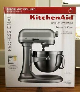 KitchenAid Professional 6 Quart 590W Bowl-Lift Stand Mixer w/ Flex Edge - Silver