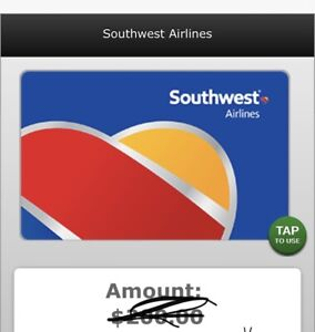 southwest Gift card 102 value . East Delivery