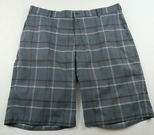 Nike Golf Mens Stretch Polyester Gray Plaid Activewear Khaki Shorts Size 38