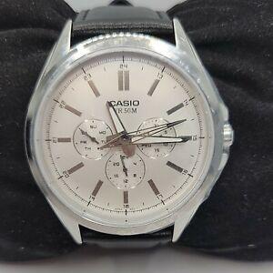 Casio SW300 Men's Black Leather Analog Dial Quartz Genuine Wrist Watch BC157
