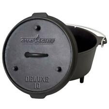 Camp Chef Deluxe Preseasoned Cast Iron 10 in. Dutch Oven Outdoor Camping Cooking