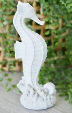 Decorative Seahorse Figurine 29cm (H) White Resin Hamptons Coastal Home Decor