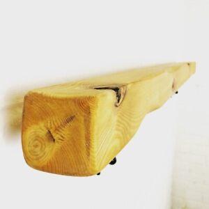 Handrail Bannister - Rail Wood & Wrought Iron Brackets - Square Handmade Rustic