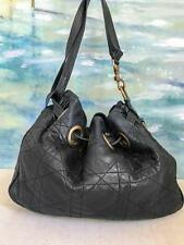 $1740 CHRISTIAN DIOR Cannage Black Quilted Leather Bucket Bag Women's Gold SALE!