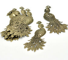 20 Bronze Tone Peacock Animal Filigree Wraps Connectors Pendants Embellishments