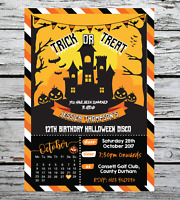 1-10 PERSONALISED LETS GO TRICK OR TREATING KIDS HALLOWEEN PARTY INVITATIONS