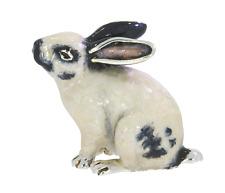 More details for saturno sterling silver & enamel black & white medium bunny rabbit sculpture