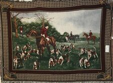 "Brand New THE FAMOUS `FOX HUNT` Tapestry Throw Blanket - Fringed 70"" X 54"""