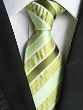 (NT200) 100% Silk Hand Made Green Stripe Wedding Office Party Tie For Men