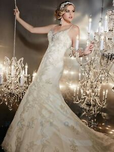 NWT Christina Wu 15540 Ivory and light gold bridal gown, silver beading Size 14