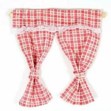 Dolls House Red Pink Gingham Curtains Tied Back on Rail 1 12 Window Accessory