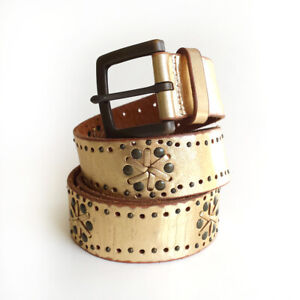 Fossil Belt Leather Gold Studded Punched sz Medium Square Buckle