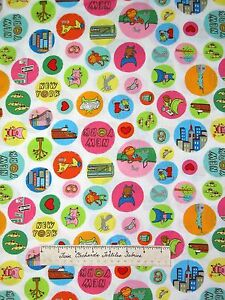 Timeless Treasures Fabric - Pixie New York Animal Zoo Taxi Circle White /Yd