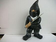 "BLACK NINJA  GNOME POLY RESIN 11"" TALL"