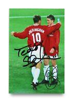 Teddy Sheringham & Solskjaer Signed 6x4 Photo Manchester United Autograph + COA