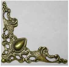 20 x Antique filigree corner 41x41mm Jewelery wooden box embellishment aged C004