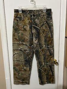 NWOT Mens Wrangler Camo denim hunting pants Realtree hardwoods Sz 34x30