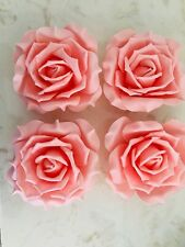 """4 Blush Pink Roses 8"""" Foam Wall Flowers Home Decor Brand New"""