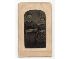 YOUNG SISTERS ARM IN ARM W/ NICE DRESSES TINTYPE 1/9 PLATE
