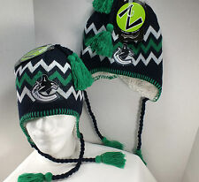 VANCOUVER CANUCKS NHL Vintage Knit Beanie winter Hat with tassels New BY Zephyr