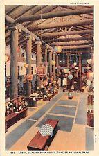 Glacier National Park postcard Lobby Glacier Park Hotel