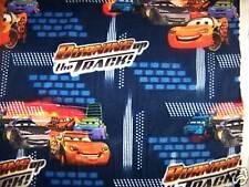 "Pixar Cars Lightning MCQUEEN Fleece Fabric BLUE 2.33 Yd L x 60""W"