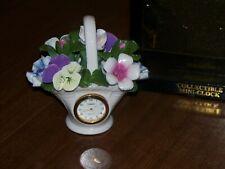 Timex Collectible Flower Basket w/Petal Porcelain Flowers Mini-Clock w/Box New