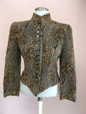 GIORGIO ARMANI 4 Small Bronze BROCADE Gold Womens Designer Blazer Vintage Jacket