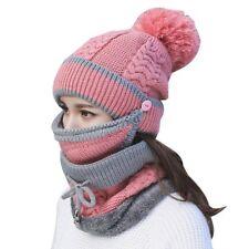 3pcs/Set Women Winter Warm Pom Hat Cap Mask Scarf Neck Thickened Plush Wool Knit