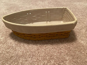Longaberger Boat Basket With Liner And Wood Piece Dividers For Boat
