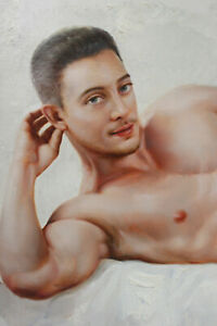 "Fine art nude male original oil painting on canvas lying men 24""x36"""